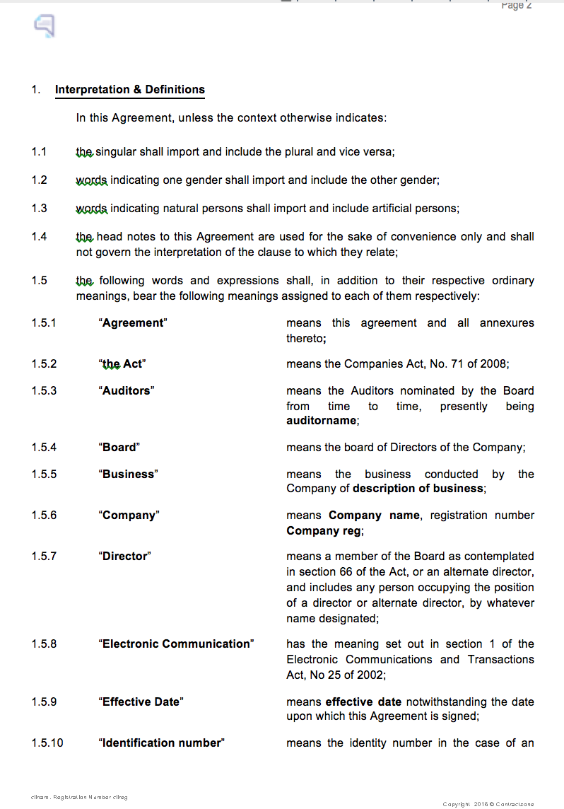 Page 2 of a Shareholders Agreement
